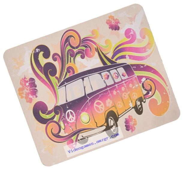 Rikki Knight Beatle Peace Retro Van Flower Power Design Lightning Series Gaming Mouse Pad (MPSQ-RK-2016)